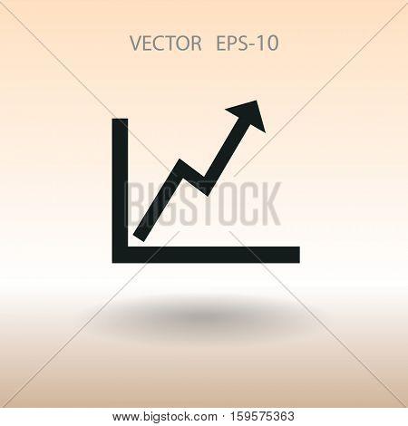 Flat icon of graph. vector illustration