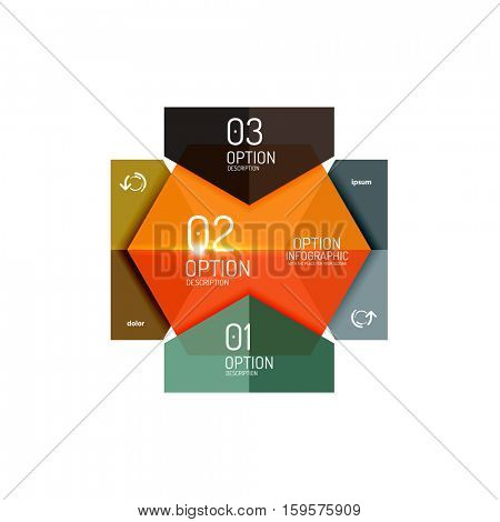 Infographic banner layouts with sample text. Business abstract templates for options and buttons
