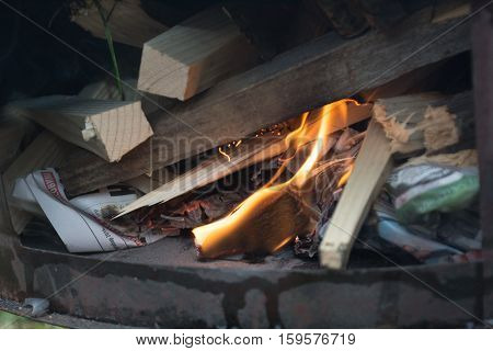 Stove In The Field With Fire
