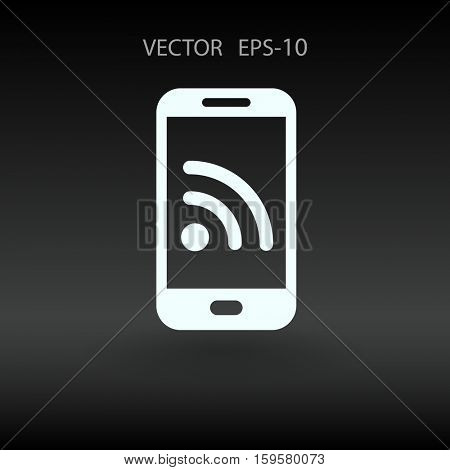 RSS mobile icon. vector illustration
