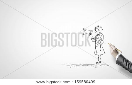 Hand drawing with pencil doctor screaming in megaphone
