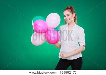 Teen Joyful Girl Playing With Colorful Balloons