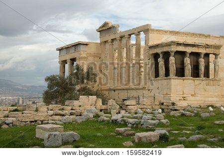 Caryatid Porch Of Erechtheum At Akropolis. Athens, Greece