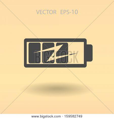 flat battery icon, vector illustration