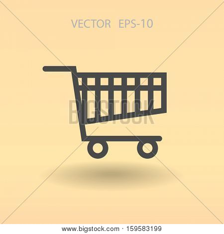 Flat icon of shopping chart. vector illustration