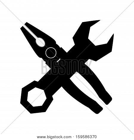 wrench and pliers tool icon image vector illustration design