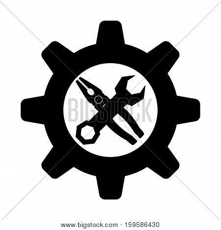 wrench with gear and pliers tool icon image vector illustration design