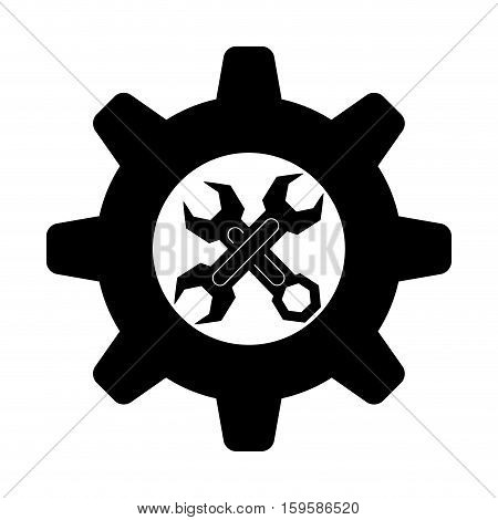 wrench and gear tool icon image vector illustration design