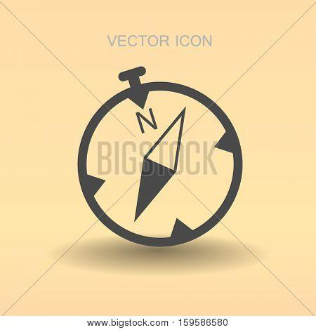 Flat compass icon. vector illustration
