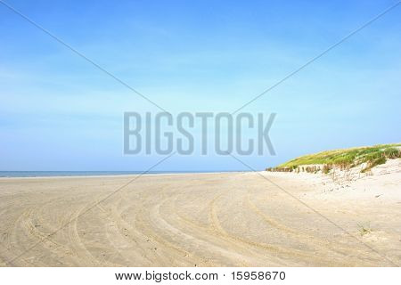 Landscape with dunes and empty quiet beach