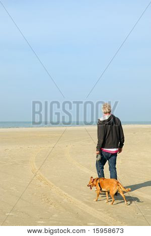 Man walking his dog at the tranquil beach