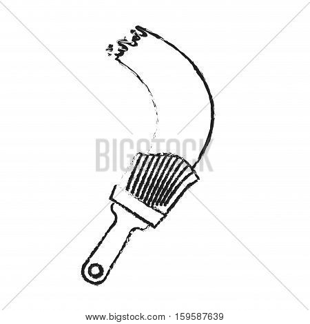 paint brush tool sketch style icon image vector illustration design