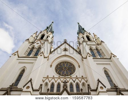 Exterior of St John the Baptist Cathedral in Savannah, Georgia