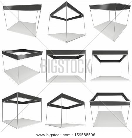 Trade Show Booth White and Black Set. Blank Indoor Exhibition with Work Paths. 3d render isolated on white background. High Resolution Ad Template for your Expo design.