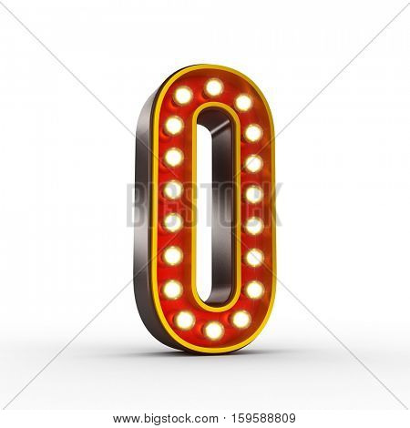 High quality 3D illustration of the number zero in vintage style with light bulbs illuminating it. Clipping path included.
