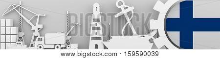 Header banner. Cargo port relative icons set. Finland flag in gear. 3D rendering. Sea transport.