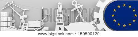 Header banner. Cargo port relative icons set. European Union flag in gear. 3D rendering. Sea transport.
