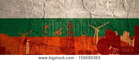 Energy and Power icons set. Header banner with Bulgaria flag. Sustainable energy generation and heavy industry. Concrete textured
