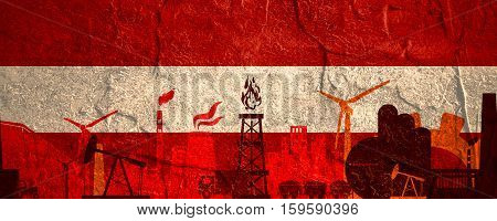Energy and Power icons set. Header banner with Austria flag. Sustainable energy generation and heavy industry. Concrete textured