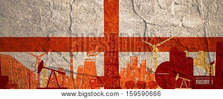 Energy and Power icons set. Header banner with England flag. Sustainable energy generation and heavy industry. Concrete textured