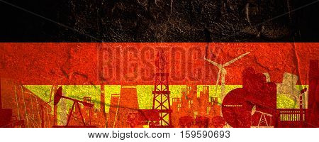 Energy and Power icons set. Header banner with Germany flag. Sustainable energy generation and heavy industry. Concrete textured