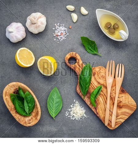 The Ingredients For Homemade Pesto Sauce. Various Herbs Sweet Basil, Parmesan Cheese ,garlic, Olive