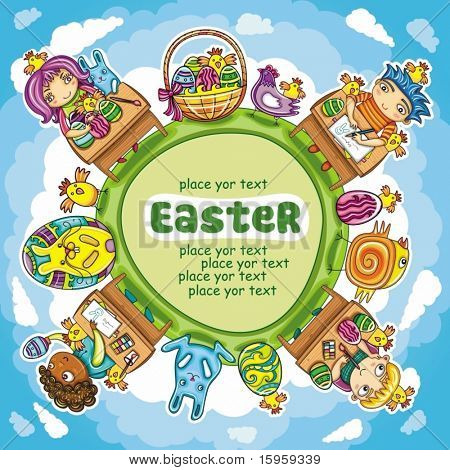 Colorful Easter arrangement with space for your text. Blue sky,  Green planet and Cute little children painting spring eggs. Traditional holiday Easter Basket and bunny or rabbit.