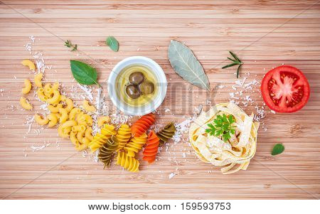 Italian Food Concept Various Kind Of Pasta With Olive Oil Flavored And Spices Herbs Rosemary ,thyme
