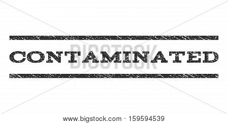 Contaminated watermark stamp. Text tag between horizontal parallel lines with grunge design style. Rubber seal gray stamp with dust texture. Vector ink imprint on a white background.