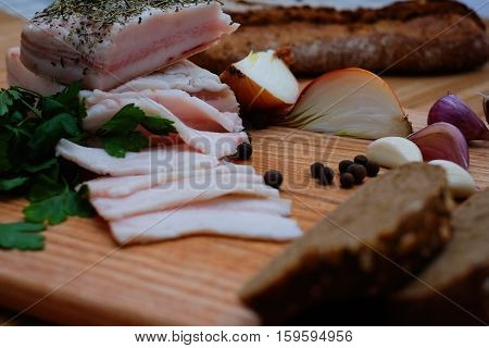 Bacon With Bread Garlic And Onions