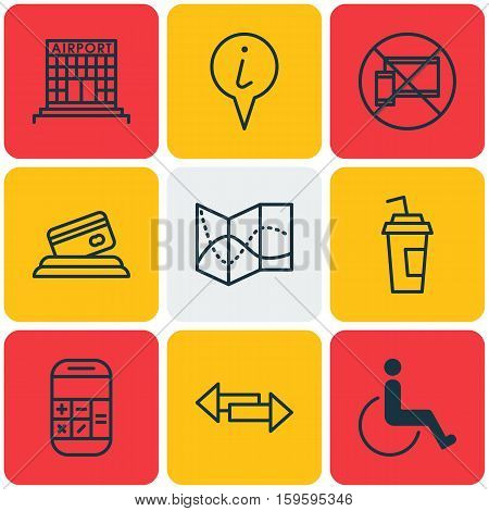 Set Of 9 Travel Icons. Can Be Used For Web, Mobile, UI And Infographic Design. Includes Elements Such As No, Accessibility, Disabled And More.