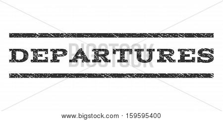 Departures watermark stamp. Text tag between horizontal parallel lines with grunge design style. Rubber seal gray stamp with dirty texture. Vector ink imprint on a white background.