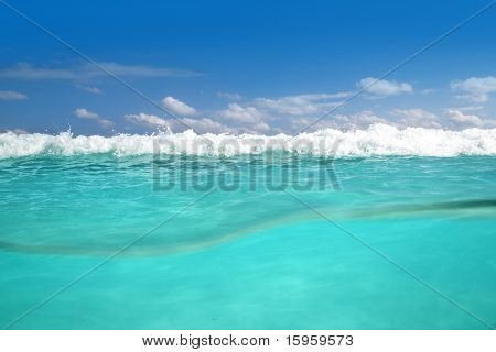 waterline caribbean sea underwater foam wave turquoise sea