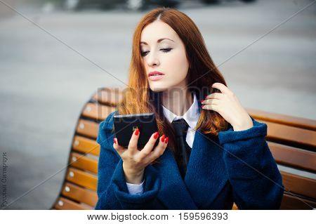 Portrait Of A Beautiful Redhead Woman