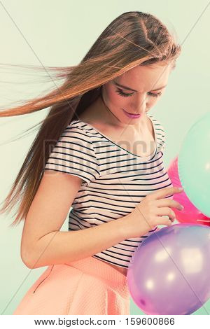 Woman Summer Joyful Girl With Colorful Balloons