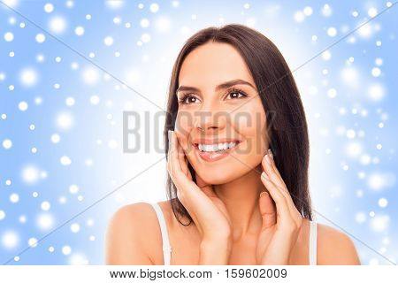 Attractive Young Woman Touching Her Face, Xmas Concept
