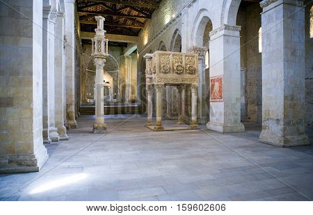 Casauria,  Italy - August 20, 2006:  The inside of the St. Clemente basilica