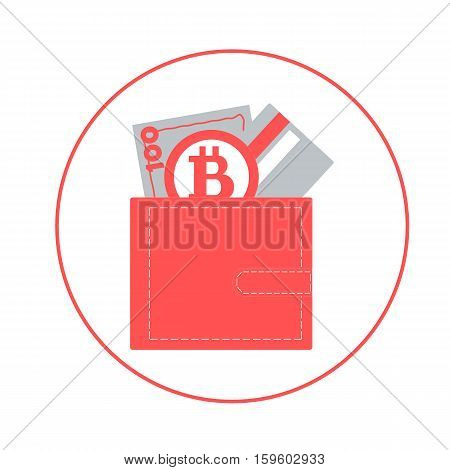 Stylized Icon Of A Colored Purse With Money Bill, Credit Card And Bitcoin