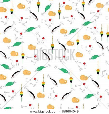 Bright Colorful Pattern With Different Tools For Fishing