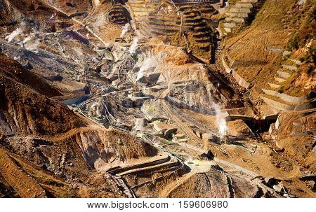 Aerial View Of A Sulfur Quarry In Hakone, Japan
