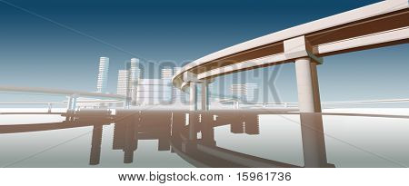 Modern futuristic styled bridge