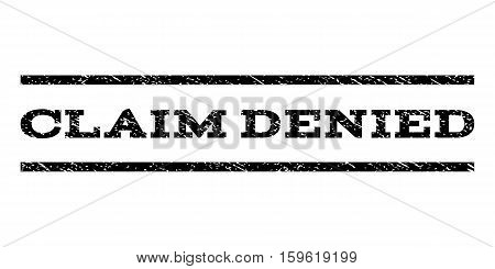 Claim Denied watermark stamp. Text caption between horizontal parallel lines with grunge design style. Rubber seal black stamp with scratched texture. Vector ink imprint on a white background.