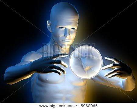 Strange magic man with hypnotic ball in hands