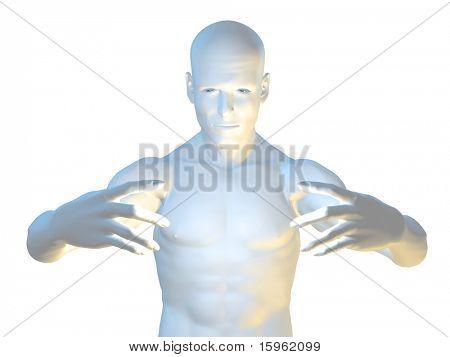 Strange magic man in hypnotic pose