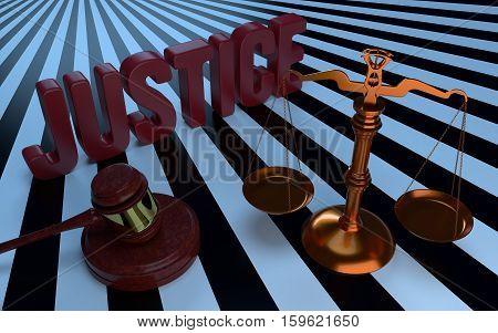 Justice text Libra and judges gavel. 3d illustration