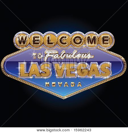 Diamond and gold Las vegas sign on blue background