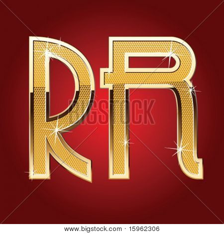 Golden font Letter R