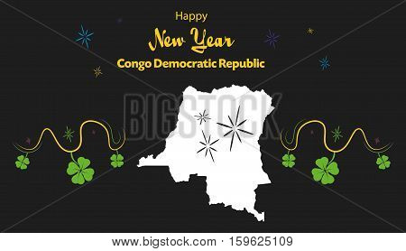 Happy New Year Illustration Theme With Map Of Congo Democratic Republic