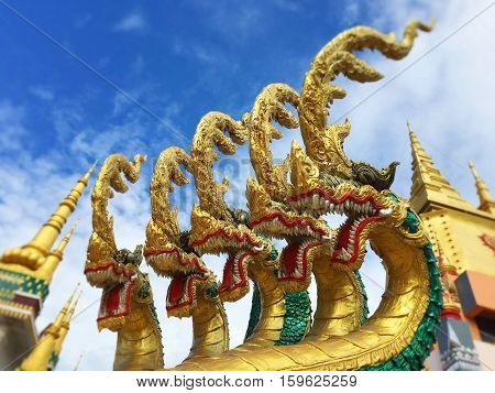 serpent statue in a temple in Chiang Rai, Thailand.