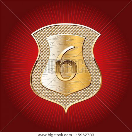 Shield in gold with alphabet digit 6